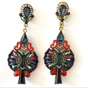 Multi colored Stone & bead Drop Earrings